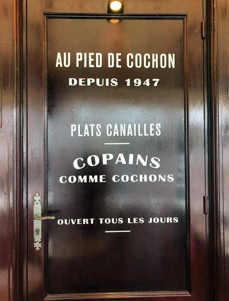 Enseigne lettres peintes restaurant Au pied de Cochon, Paris